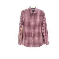 Nordstrom Mens sz M Red Plaid Regular Fit Button Down Casual Dress Shirt