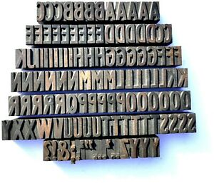 "Letterpress WOOD Type 1"" SAN SERIF Alphabet 111pcs+  **RARE Stephenson Blake**"