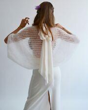 White mohair wedding wrap, Light bridal shawl, Wedding chic shrug, Cover up