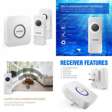 Wireless Doorbell PHYSEN B9 Waterproof Door Chime with 2 Push Buttons and 1 Plug