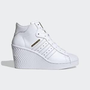 adidas Originals Womens Superstar Ellure Platform Shoes White