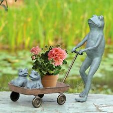 "Frog Family Fun Wagon Planter Metal Garden Sculpture Statue Parent Kids 23""H"