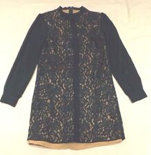 LADIES OASIS UK 8 EUR 34 GREEN LACE  & BEIGE LINED COCKTAIL PARTY A LINE DRESS