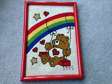 Vintage Completed Finished Needlepoint Framed Care Bears Tenderheart Bear 1980's