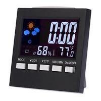 Digital Uhr Wecker Funk Wetterstation Thermometer Hygrometer LCD Farbdisplay DE