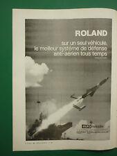 1/1980 PUB EUROMISSILE SYSTEME SOL AIR ROLAND ANTI AERIEN ORIGINAL FRENCH AD