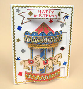 A4 Card Making Templates for Pop-Up Carousel Card & Envelope by Card Carousel