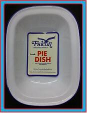 32cm FALCON STEAK ASHET PIE BAKING BAKE OVEN DISH TIN ENAMEL OBLONG BLUE & WHITE