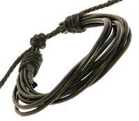 Black Leather Multi Strap Surf Wristband Bracelet Adjustable Surfer
