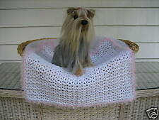 Fancy Dog Cat Bed Blanket White with Pink Sparkle Faux Fur Trim