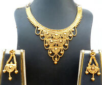 22K Gold Plated Indian 8'' Long Necklace Earrings Indian Nice Party SALE f
