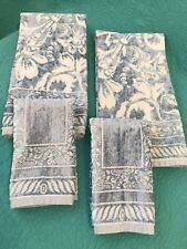 Lot Of 4 Blue & White • Velour & Terry Hand / Fingertip Towels~Homespa•Portugal