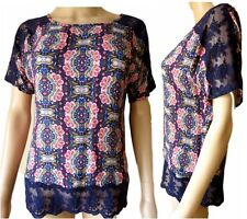 Ex M&S Ladies Blue Floral Short Sleeve Scoop Neck Casual Summer Top Size 8 - 22