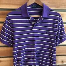 EUC Mens Purple Striped Polo Ralph Lauren Stretch Mesh Pony Shirt Golf S