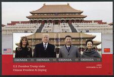 Grenada 2018 MNH Donald Trump Visit China Xi Jinping 4v M/S US Presidents Stamps