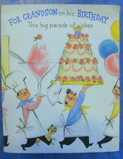 BIRTHDAY CAKE PUNCH OUT & ASSEMBLE TRAIN VINTAGE GREETING CARD FOR GRANDSON CHEF
