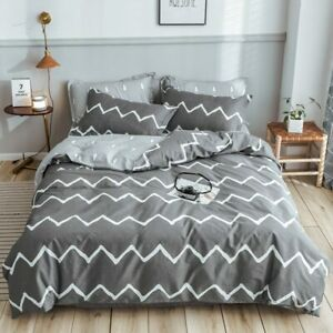 Grey Color Stripe Pure Cotton Bed Cover Sets Twin/Full/Queen/King