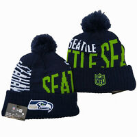 Embroidered SEATTLE SEAHAWKS Logo Front Cuffed Knitted Pom Beanie Cap Ski Cap