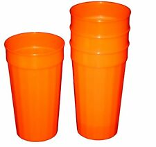 3 Large 32 Ounce Orange Fluted Tumblers Made in America Lead Free