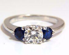 1.57CT NATURAL DIAMONDS SAPPHIRE THREE STONE RING 14KT ROYAL BLUE+