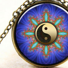 New Yin Yang BluePattern Bronze Necklace Cabochon Ladies or Men's Gift Jewellery