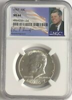 1967 P NGC MS64 SILVER KENNEDY HALF DOLLAR JFK COIN SIGNATURE 50c