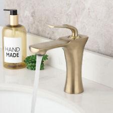 Brushed Gold Deck Mount Bathroom Basin Mixer Lavatory Vintage Brass Faucet Taps
