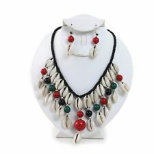 Beads 3 Pc Necklace Set Red, Black and Green Cowrie Shell