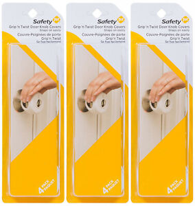 3 Pack Safety 1st Grip N Twist Round Door Knob Covers Keeps Kids Out - 72351-3