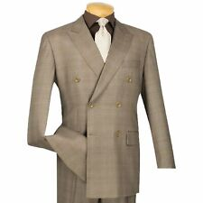 VINCI Men's Tan Glen Plaid Double Breasted 6 Button Classic Fit Suit NEW