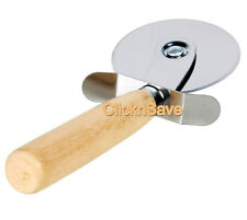 Kitchen Wooden Handle Stainless Steel Pastry Pizza Cutter Wheel Slicer Blade