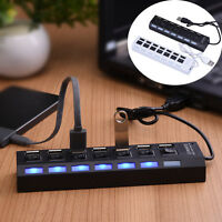 7-Port USB 2.0 Multi Charger Hub with High Speed Adapter ON/OFF Switch Laptop/PC