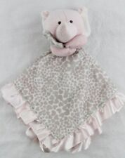 CARTERS Elephant Gray Animal Print Pink Trim & Satin Back Lovey