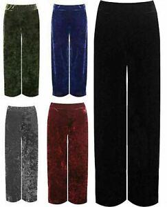 Women's Ladies Plain Velour Velvet Elasticated Wide Leg Trouser Pocket Palazzo