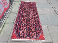 Vintage Traditional Hand Made Oriental Blue Red Wool Long Narrow Runner 235x92cm