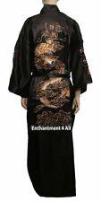Embroidered Dragon Design Double Happiness Silk Kimono Robe w/ Waist Tie, Black