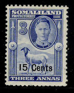 SOMALILAND PROTECTORATE GVI SG127, 15c on 3a bright blue, M MINT.