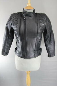 CITY OF LEATHER BLACK LEATHER BIKER JACKET WITH REMOVABLE PROTECTORS: SIZE 12