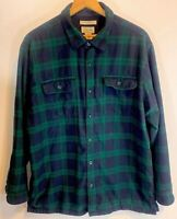 L.L.Bean Fleece Lined Flannel Shirt Size XL Traditional Fit Blackwatch Plaid