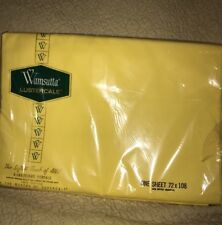 NEw Old Stock New Vintage Spring Yellow Twin Flat Sheet Wamsutta Lustercale