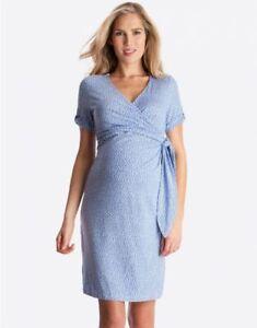 Seraphine Baby Blue Wrap Dress Polka Dot Size 6 NWT New Maternity Small $79