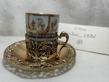 Vintage Arnart Blue Mug with Love Story, Cup Holder and Gold Metal Saucer. Japan