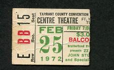 Original 1972 ZZ Top concert ticket stub Fort Worth TX Rio Grande Mud RARE