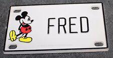 Vintage Walt Disney Prod. Mickey Mouse Name Fred Plastic License Plate