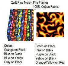 Fire Flames 100% Cotton Fabric By The 1/4 Yard - PICK Color - for Face Mask