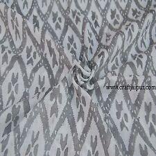 Hand Block Print 100% Pure Cotton 10 Yard Ikat Printed Indian Traditional Fabric