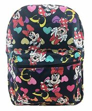 "Disney Cute Minnie Mouse w/ Heart All Over Printed 16"" School Backpack Black"