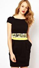 NewWT Karen Millen black croc print waistband tailored dress DQ022 UK 16 £140