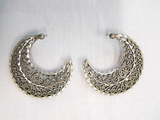 NEW CRESCENT SHAPED SCROLLING DESIGN HAND ENGRAVED PEWTER STUD POST EARRINGS