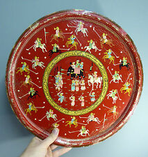 Antique Indian Mughal lacquer Tray Polo Players & Script Islamic Arabic Persian